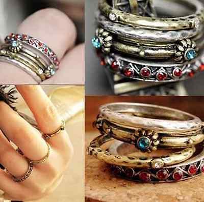 Vintage Retro Punk Crystal Rhinestone Finger Rings Women Jewelry 4pcs/set