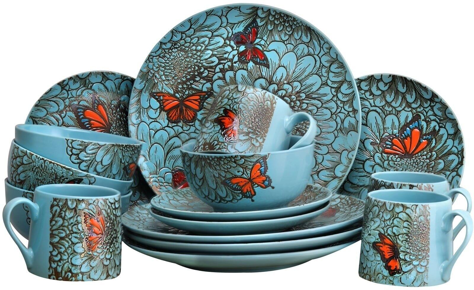 Elama Butterfly Jardin 16 Pièce Stoneware Dinnerware Set micro-ondes Safe