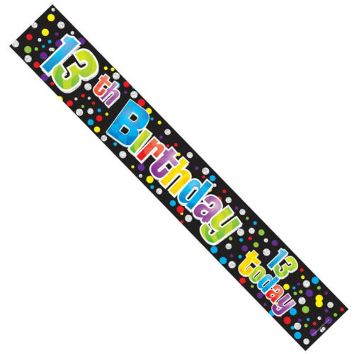 3FT EACH 3 x 13TH 13 TEENAGER BIRTHDAY UNISEX FOIL BANNERS PARTY DECORATION