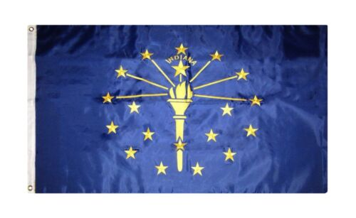 R1 3x5 Embroidered Sewn Indiana State Double Sided Nylon Flag 3/'x5/' Heavy Duty