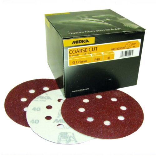 Mirka 125mm 8 Hole Coarse Cut Sanding Discs P40 P60 P80 P100 P120 P150