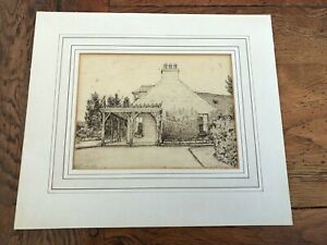 1926 pen & ink drawing of a shooting lodge in deeside aberdeenshire ( fargue )