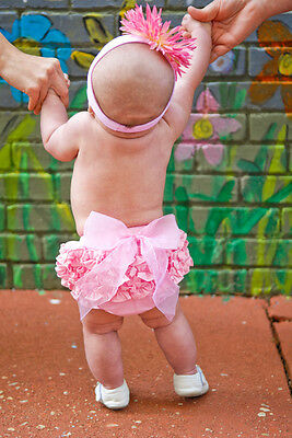 Ruffle Butts Pink Bow Bloomer Diaper Cover Dressy Solid Baby Girls 2T NWT Gift
