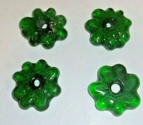 "4 Vintage GREEN Art Glass Faceted Chandelier//Lamp Spacer Parts 1 1//2/"" Diameter"