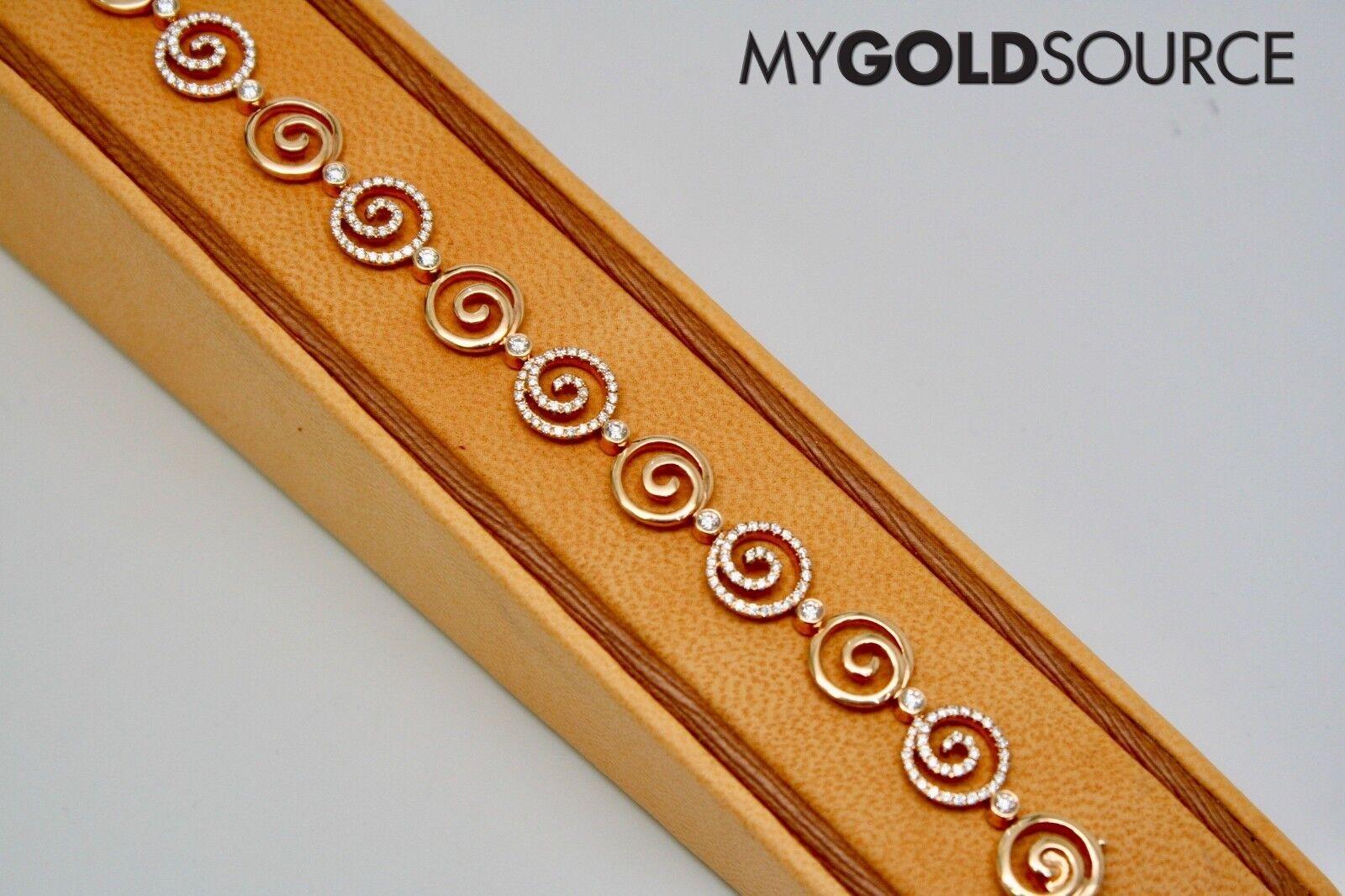 18k pink gold Spiral Circles Diamond Bracelet 6.5 Inches 1.69 Carat 222 Round