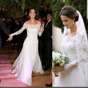 UK-New-Off-Shoulder-Ivory-Lace-Long-Sleeve-Wedding-Dresses-Bridal-Gown-Size-10