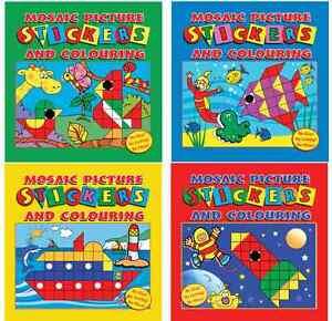 SET-OF-4-MOSAIC-STICKER-amp-COLOURING-BOOKS-CHILDRENS-KIDS-ART-CRAFT-ACTIVITY-3105