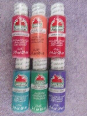 Apple Barrel Paint - 6 Assorted Colors (see Below For Colors) - Lot #9 Uitstekende Kwaliteit