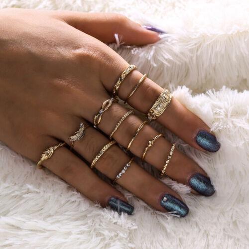 12er Damen Ring Set Knuckle Fingerring Ringset Fingerspitzen Schmuck Geschenk
