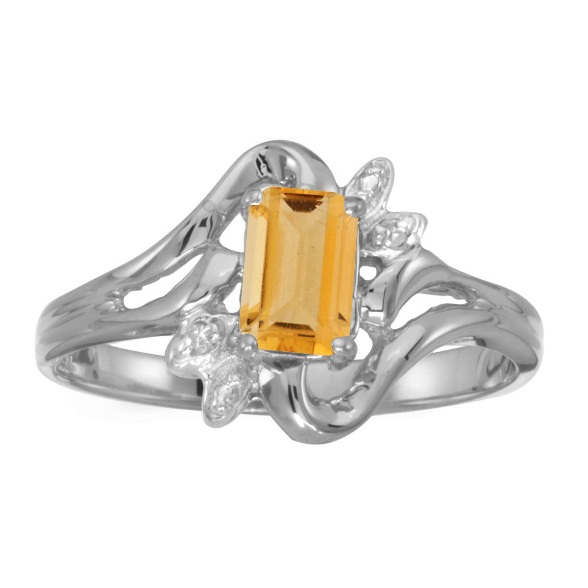 14k White gold Emerald-cut Citrine And Diamond Ring