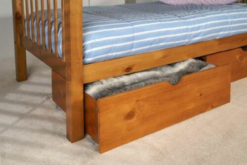 NEW Pair of Solid Pine Underbed Under Bed Storage Drawers in White Wax or Honey
