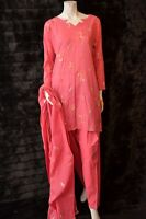 Cotton Embossed Embroidered Pakistani Indian Shalwar Kameez S - M Coral Pink