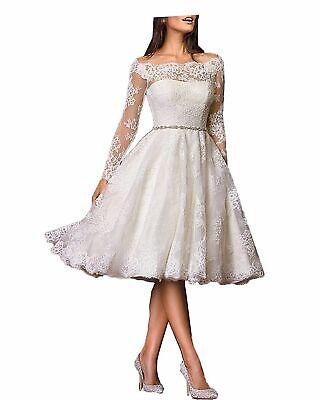 Knee Length Short Wedding Dresses Long Sleeves Off Shoulder Plus Size  Custom   eBay
