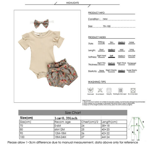 3PCS Newborn Baby Girl Outfits Clothes Tops Romper Floral Shorts Pants Set