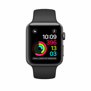 size 40 a279e 4ec42 Details about Brand new Apple Watch Series 1 38mm Aluminum Case Black Sport  Band - (MP022LL/A)