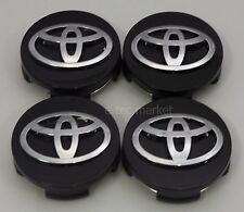 4x Toyota Camry Highlander Prius Sienna Venza Avalon Matrix Black Center Caps