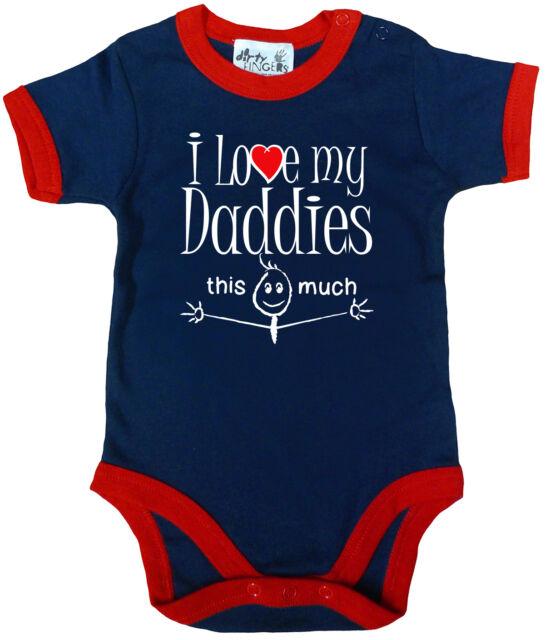 "LGBT Baby Bodysuit ""I Love My Daddies This Much"" Trimmed Babygrow Gay Pride"