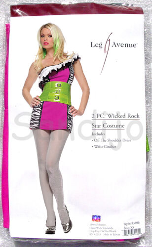Leg Avenue 83406 Wicked Rock Star Costume M//L Adult 2 Piece S//M Size XS
