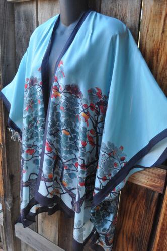 Size Jacket Kimono Håndmalede Birds Floral 100 Art Wear Silk To One AwxvqS4