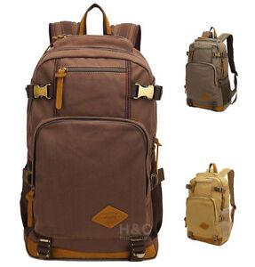 Men's Canvas Military Tactical Backpack Camping Trekking School Hiking Bag