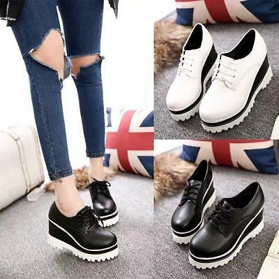 New Women Platform Wedge Heel Casual Shoes Sneakers Lace Up Trainers Pumps