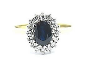 Oval-Cut-Sapphire-1-50ct-amp-Diamonds-0-50ct-Yellow-Gold-9Carat-Ring-Size-L