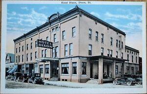 Dixon-IL-1920s-Postcard-Hotel-Dixon-Cars-Illinois-Ill