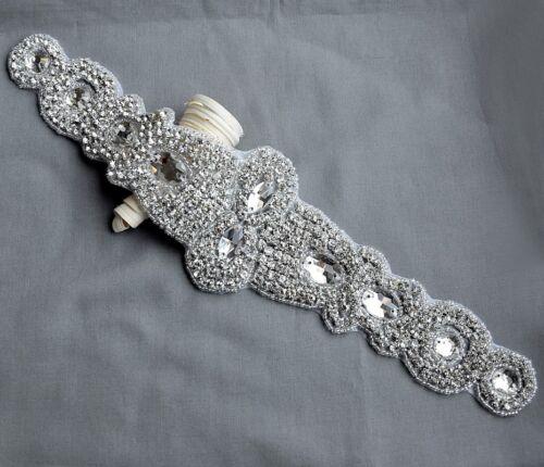 Rhinestone Applique Bridal Crystal Trim Beaded Wedding Sash Belt Headband DIY