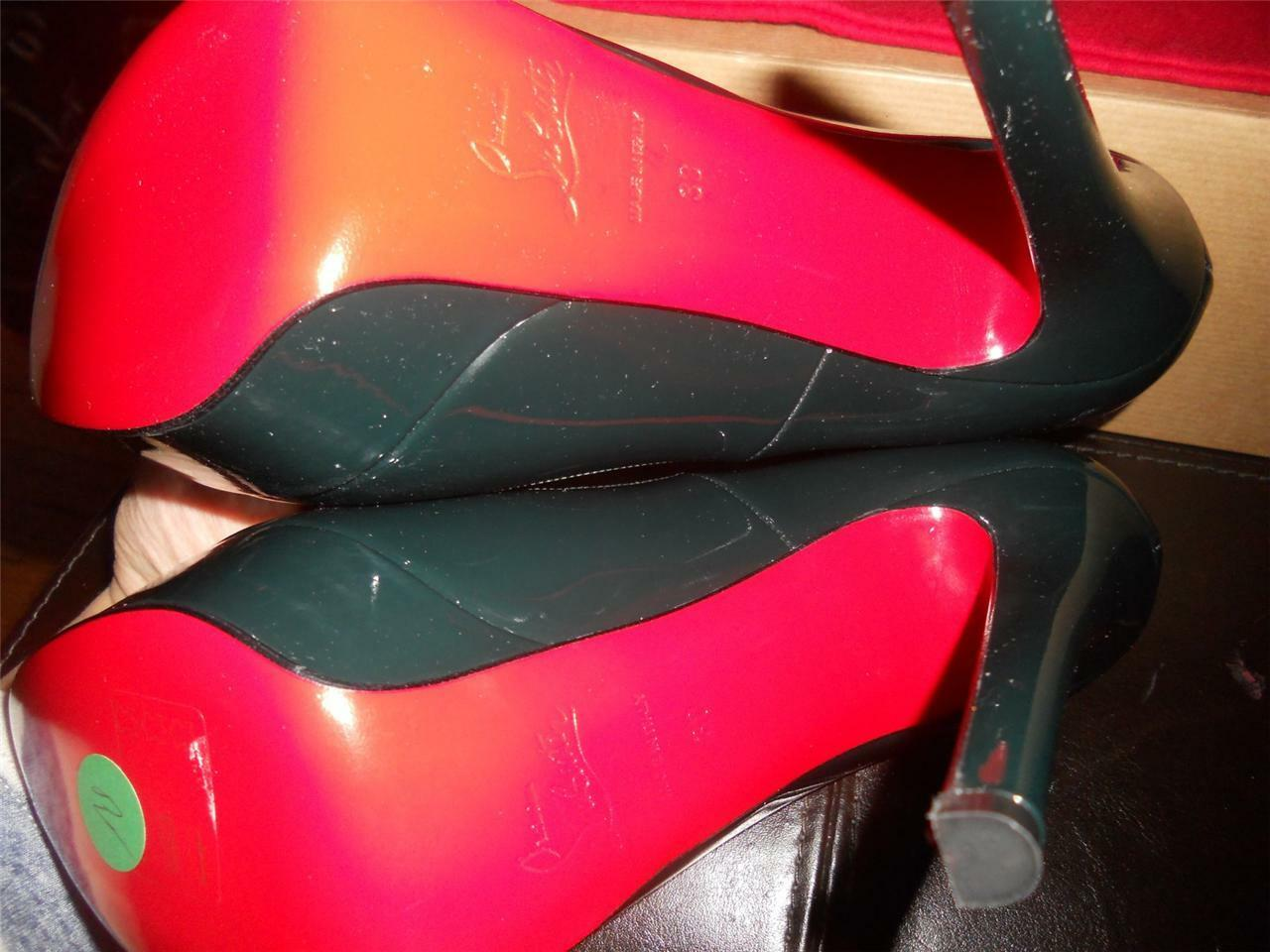 Christian Louboutin white 140 Patent Leather Leather Leather Platform Pump shoes English Green 03c873