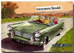 TRIUMPH HERALD ADVERTISING METAL SIGNBRITISH CLASSIC CARSVINTAGE - British cars