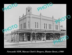 OLD-POSTCARD-SIZE-PHOTO-OF-NEWCASTLE-NSW-CLARKES-DRAPER-STORE-HUNTER-St-c1900