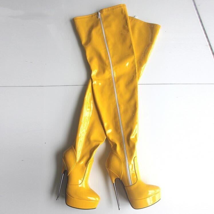 Sexy Spitz Lackleder Damen Overkneestiefel Sehr Hoherabsatz Hoherabsatz Hoherabsatz Glanz Platform Boot 0fecbd