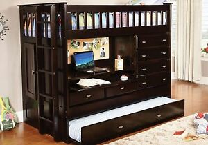 Kid-039-s-or-Teen-Twin-Loft-Bunk-Bed-with-Storage-Desk-Dresser-Trundle-in-One