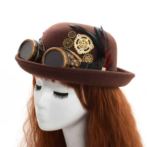 Vintage Gothic Steampunk Gear Feather Top Hat Victorian Brown Goggle Costume Hat