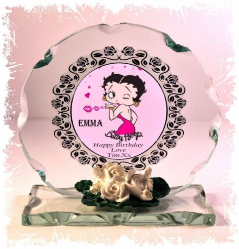 Betty Boop Personalised Birthday Cut Glass Round Plaque Special Edition