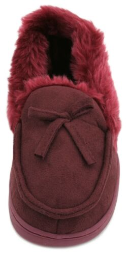 Slumberzzz Ladies Faux Suede Fur Trim Moccasin Slippers