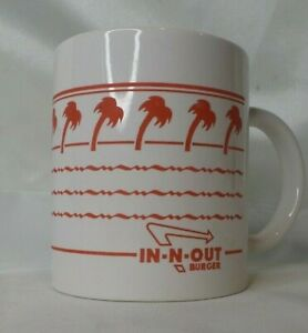 In-N-Out-Burger-Restaurant-Coffee-Mug-Cup-White-Red-Palm-Trees-Logo-Rare