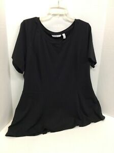 A354253-Isaac-Mizrahi-Live-Short-Sleeve-Seamed-Peplum-Knit-Top-Size-1X-Black
