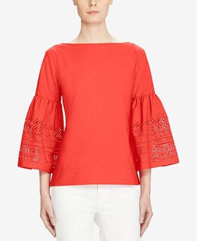 Lauren Ralph Lauren Woherren Laser‑Cut Straight‑Fit Shirt ‑ rot  Petite Large