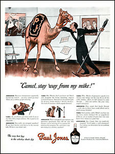 1942 Camel Radio Announcer Paul Jones Whiskey vintage art print ad adl74