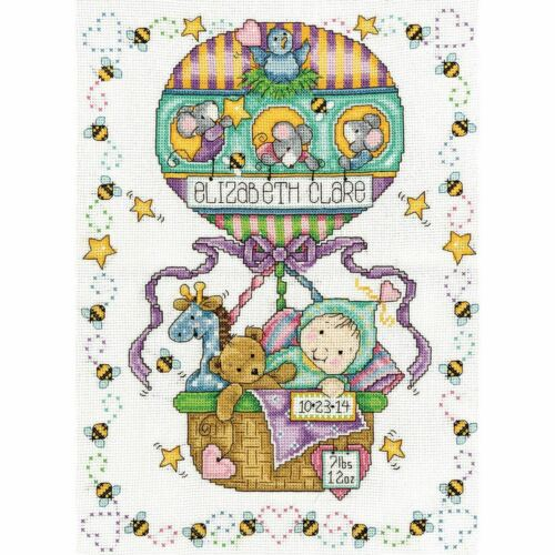 "Counted Cross Stitch Kit 11/"" x 14/""-Balloon Ride Birth Record-14 Count-Tobin"