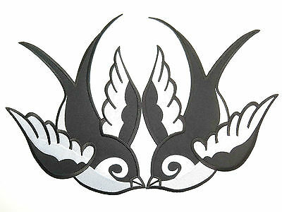 """Pair Of Swallows Rockabilly Kitsch Embroidered Giant Back Vest Jacket Patch 11"""""""