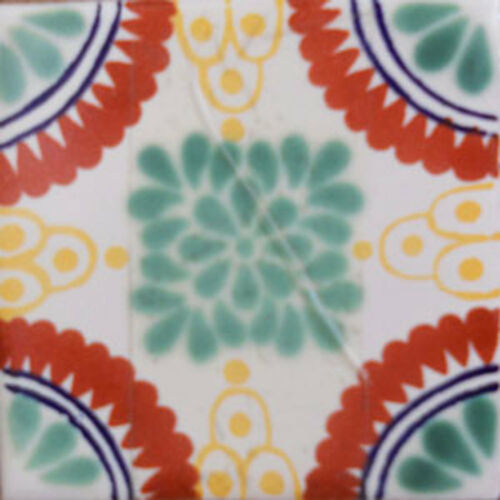 #C111 Mexican Tile sample Ceramic Handmade 4x4 inch GET MANY AS YOU NEED !!