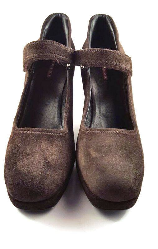 Prada marrone Suede Wedge Platform, 8, Mary Jane Pumps, Donna's scarpe ...