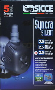 3.0 2,700l/h Sicce Syncra Silent Multifunction Pump Wet Or Dry Applications Attractive Designs;