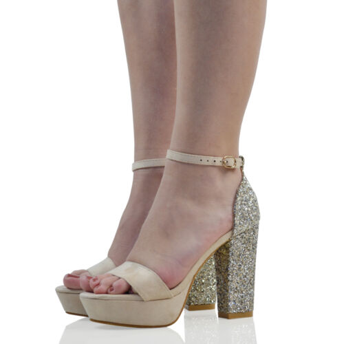 Womens Ankle Strap Glitter Heel Platform Ladies Peep Toe Party Prom Sandals Shoe