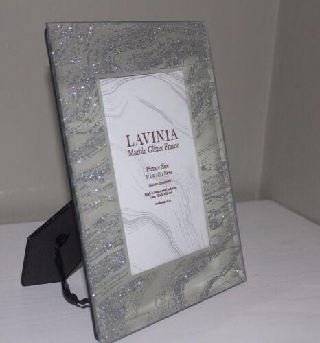 Silver Glitter marbré effet miroir Cadres Photo en Verre Choix de Trois Tailles,