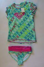 NWT Roxy -7- Cabbage Green Pink Logo  2 Pc Rash Guard Tankini Swimsuit Set UV