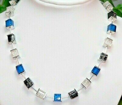 Halskette Würfelkette Perlen Würfel Glas blau grün hellgrün matt klar 266L