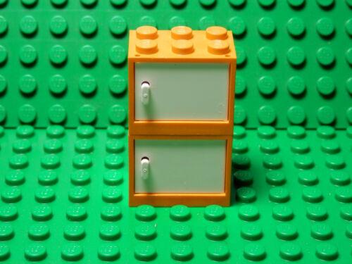 LEGOS 2 NEW ORANGE Container Cupboard WHITE Door 2x3x2 Harry Potter The Simpsons